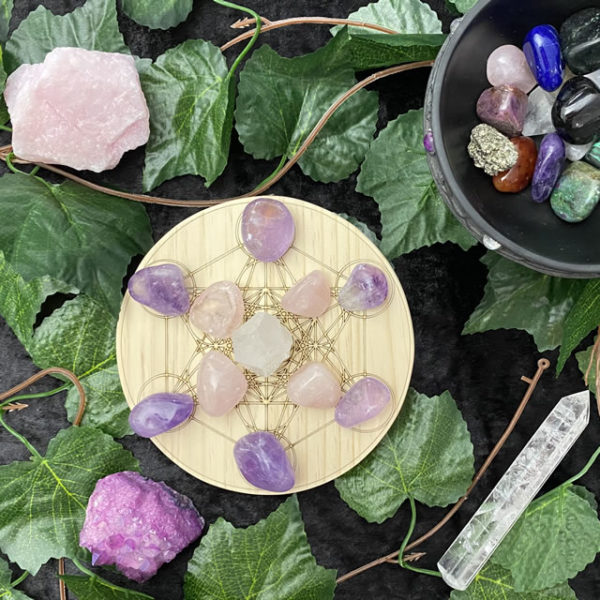 150mm Double Metatron Lotus - Round - With Crystals